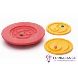 Балансир детский красный с комплектом сменных лабиринтов диаметр 48 см